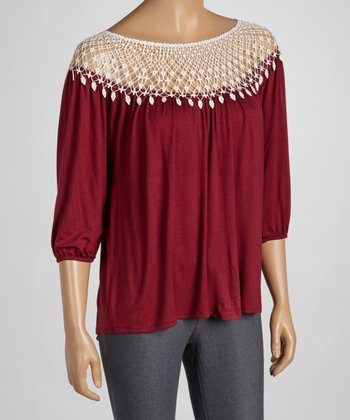 Burgundy Lace Yoke Top