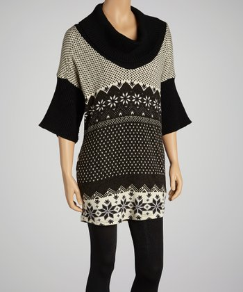 Black & Cream Cowl Neck Dress