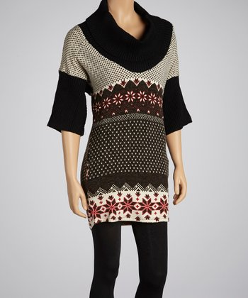 Black & Red Cowl Neck Dress