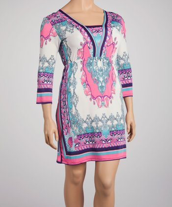Ivory & Pink Arabesque Border Shift Dress - Plus