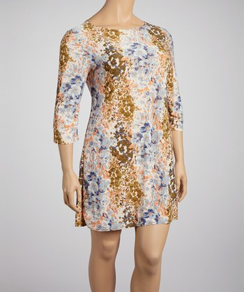 Brown & Peach Floral Shift Dress - Plus