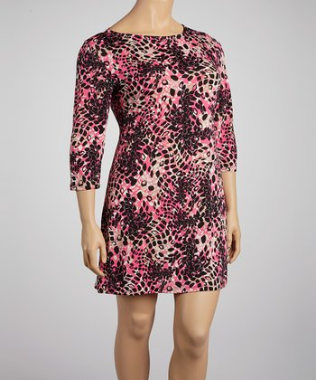 Pink & Black Abstract Shift Dress - Plus
