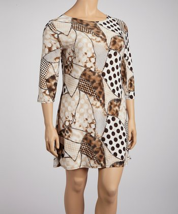 Beige & Brown Polka Patch Shift Dress - Plus