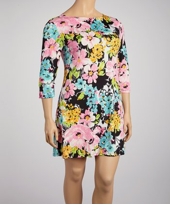 Pink & Black Bold Floral Shift Dress - Plus
