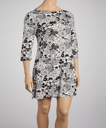 White & Black Art Floral Shift Dress - Plus