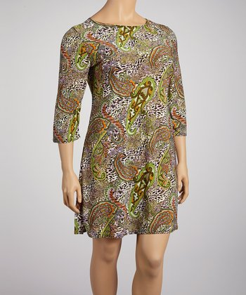 Green & Orange Animal Paisley Shift Dress - Plus
