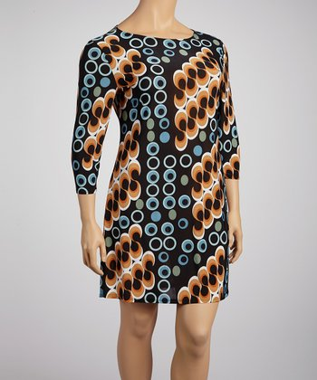 Orange & Black Mod Shift Dress - Plus