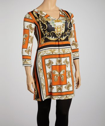 Orange & Black Status Tunic - Plus