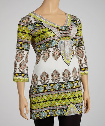 Ivory & Yellow Arabesque Tunic - Plus
