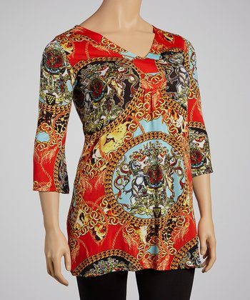 Red & Gold Mythologies Tunic - Plus