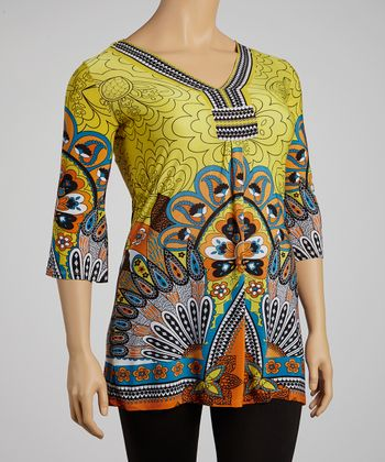 Yellow & Orange Peacock Tunic - Plus