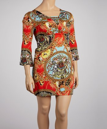 Red & Gold Mythologies Shift Dress - Plus