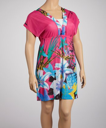 Fuchsia Flower Surplice Dress - Plus