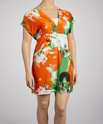 Orange Butterfly Surplice Dress - Plus