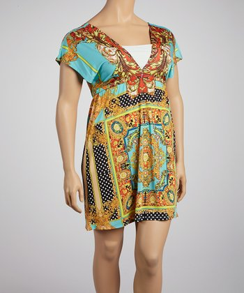 Gold & Turquoise Status Dot Surplice Dress - Plus
