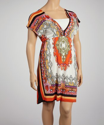 Ivory & Orange Arabesque Border Surplice Dress - Plus