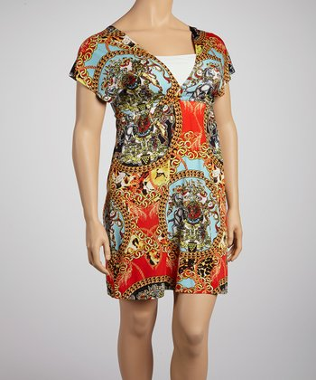 Red & Gold Mythologies Surplice Dress - Plus