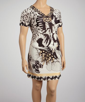 Coffee & Cream Bold Butterfly Short-Sleeve Dress - Plus
