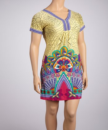 Yellow & Pink Peacock Short-Sleeve Dress - Plus