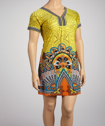 Yellow & Orange Peacock Short-Sleeve Dress - Plus
