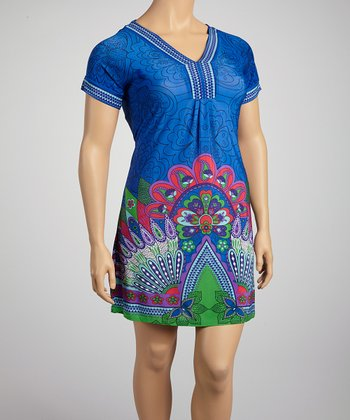 Blue & Green Peacock Short-Sleeve Dress - Plus