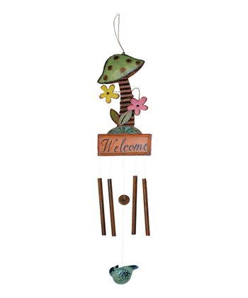 'Welcome' Mushroom Wind Chime
