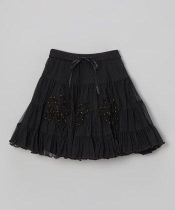Black Romantic Roses Skirt - Toddler & Girls