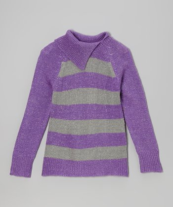 Purple Stripe Split-Neck Sweater - Toddler & Girls