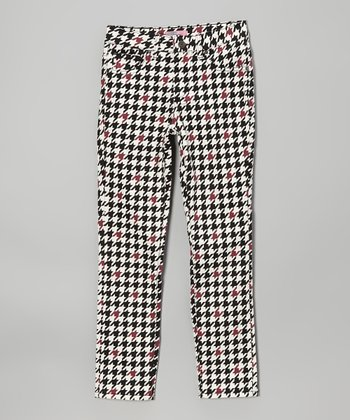 Black & White Houndstooth Skinny Jeans - Girls