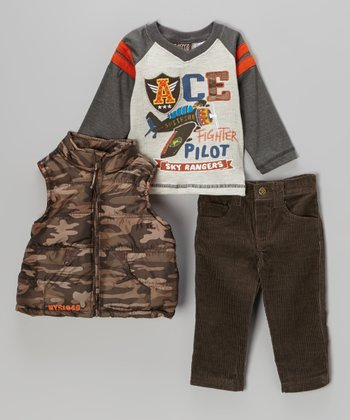Gray 'Ace' Raglan Thermal Tee Set - Infant