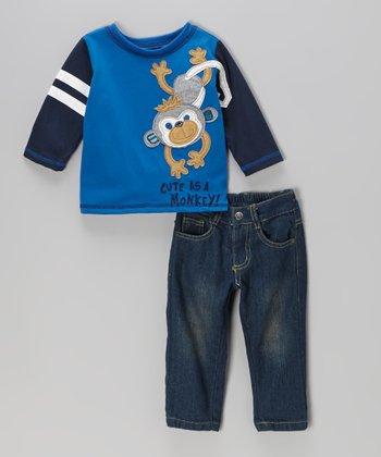 Blue 'Monkey' Tee & Jeans - Infant & Toddler