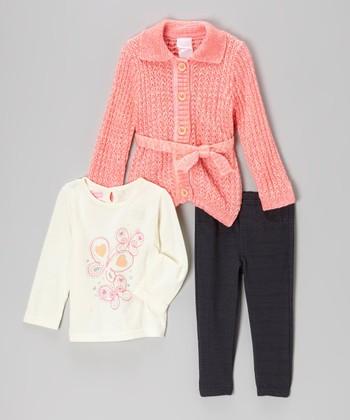 Pink Butterfly Cardigan Set - Infant, Toddler & Girls