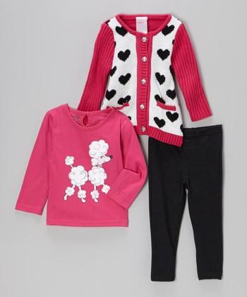 Pink Poodle Cardigan Set - Infant, Toddler & Girls