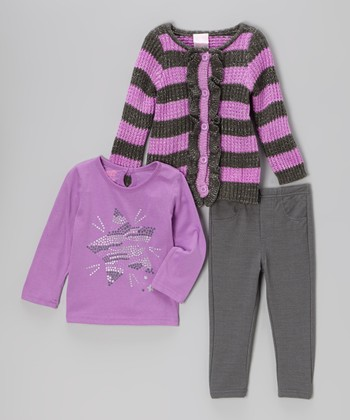Purple Star Cardigan Set - Infant & Toddler