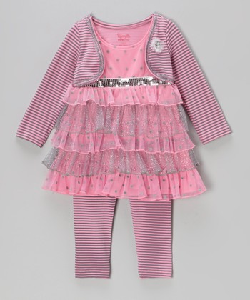 Pink & Silver Tiered Dress & Leggings - Girls