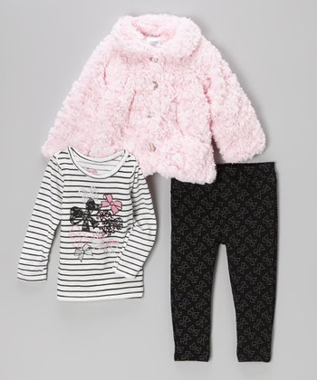 Pink Faux Fur Jacket Set - Infant, Toddler & Girls