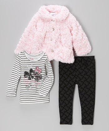 Pink Faux Fur Jacket Set - Toddler