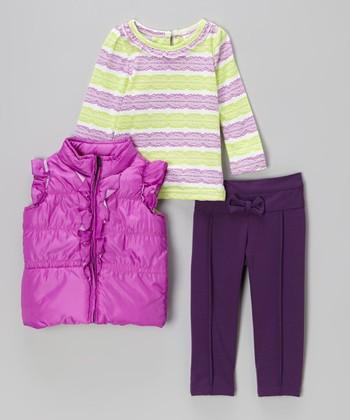 Purple Puffer Vest Set - Toddler