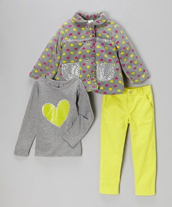Gray Neon Heart Jacket Set - Girls