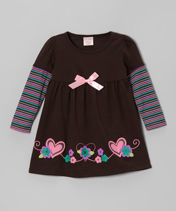 Brown Stripe Long Sleeve Dress - Toddler & Girls