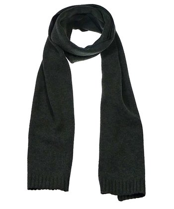 Heather Gray Ribbed Wool-Blend Scarf