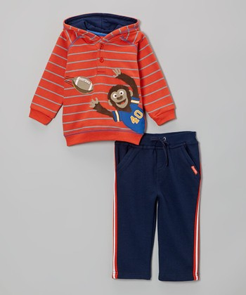 Dark Orange Stripe Monkey Hoodie & Blue Pants - Infant