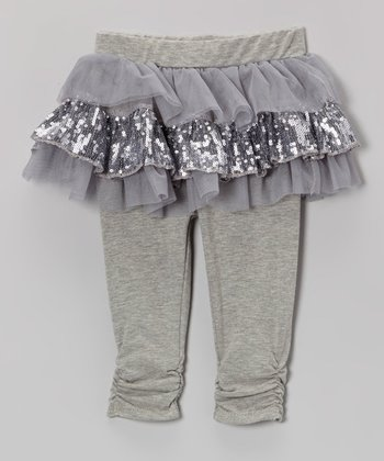 Gray Sparkle Skirted Leggings - Infant & Toddler