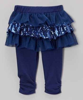 Dark Blue Sequin Skirted Leggings - Infant & Toddler