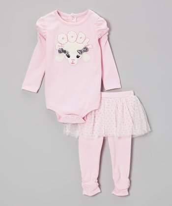 Light Pink 'Poodle' Bodysuit & Skirted Leggings - Infant