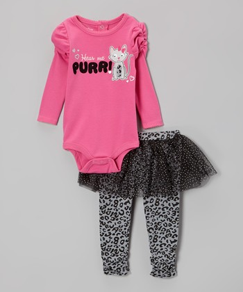 Pink 'Hear Me Purr!' Bodysuit & Leopard Skirted Leggings - Infant