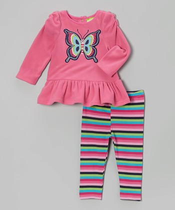 Pink Butterfly Tunic & Stripe Leggings - Infant & Toddler