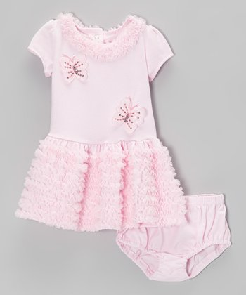 Pink Butterfly Ruffle Dress & Diaper Cover - Infant