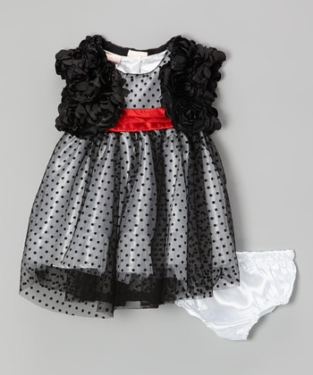Black Polka Dot Velour Dress Set - Infant & Toddler