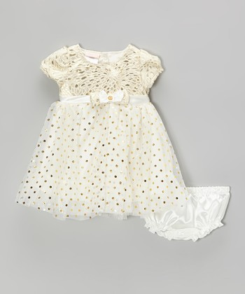 Gold Polka Dot Tulle Dress & Diaper Cover - Toddler